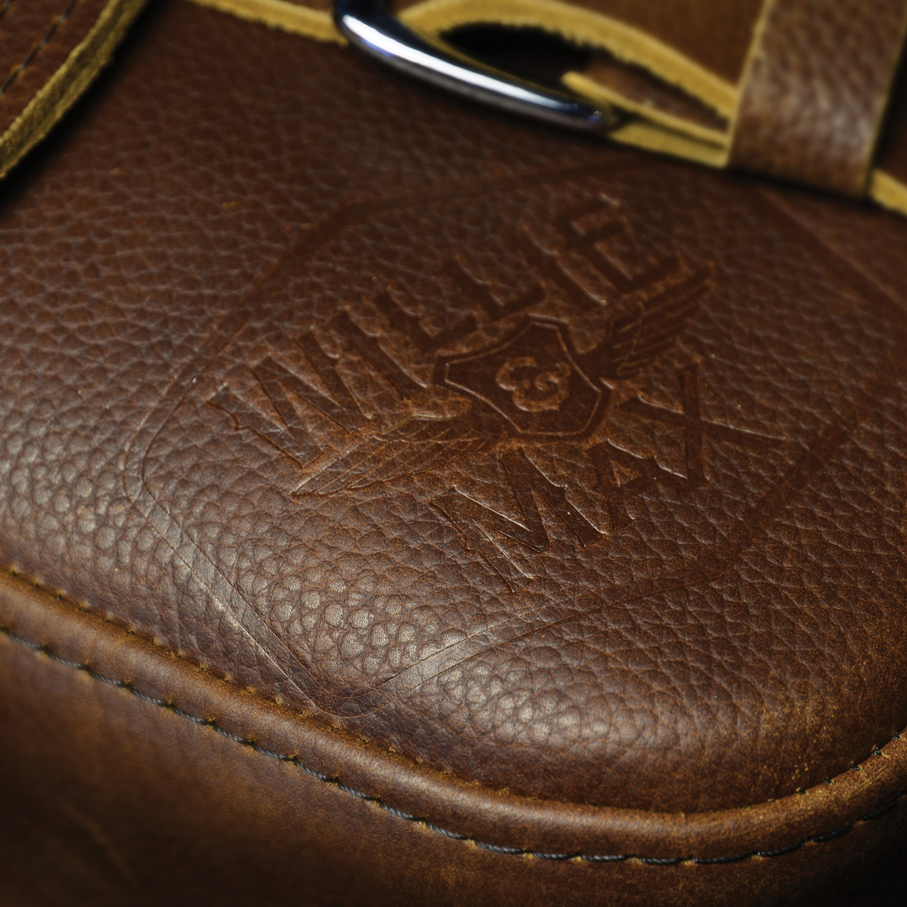 Willie & Max Limited Edition Brown Leather Swingarm Bag debossed
