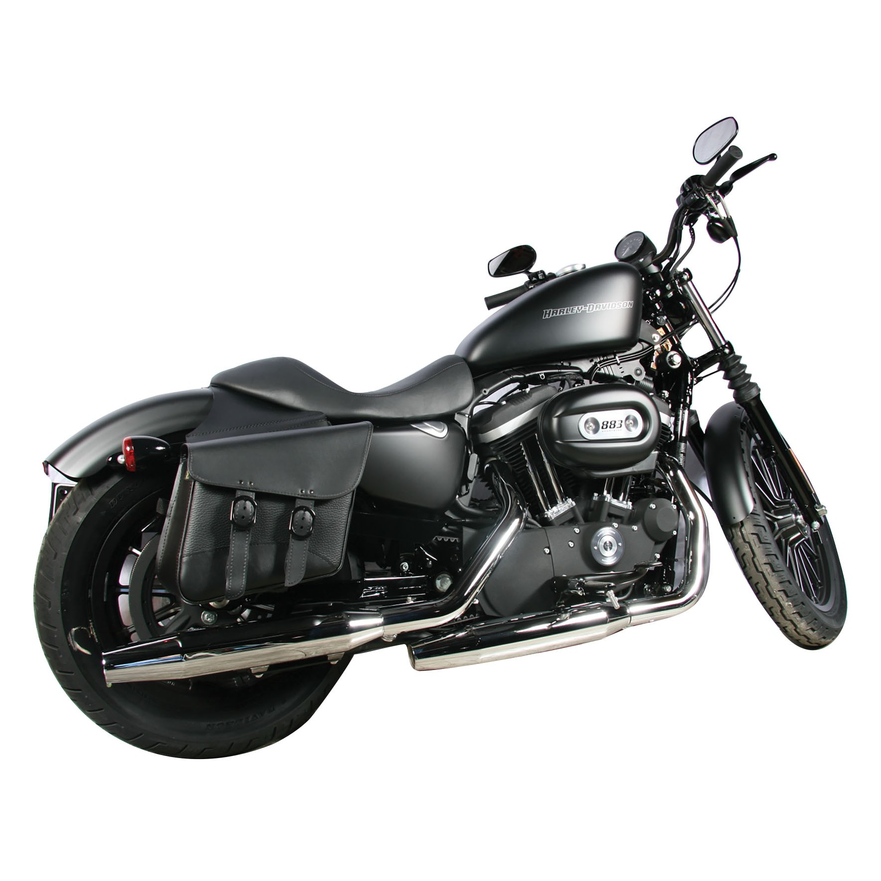 Dowco Willie and Max Blackjack Compact Slant Saddlebags on a Harley-Davidson Sportster XL 883