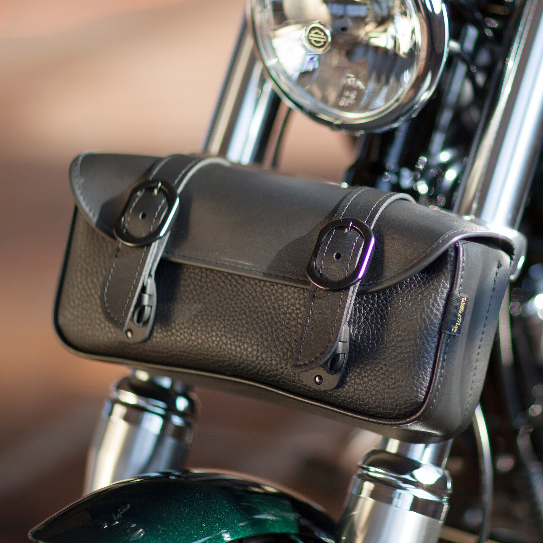Dowco Willie and Max Blackjack Fork Bag on a Harley-Davidson Dyna