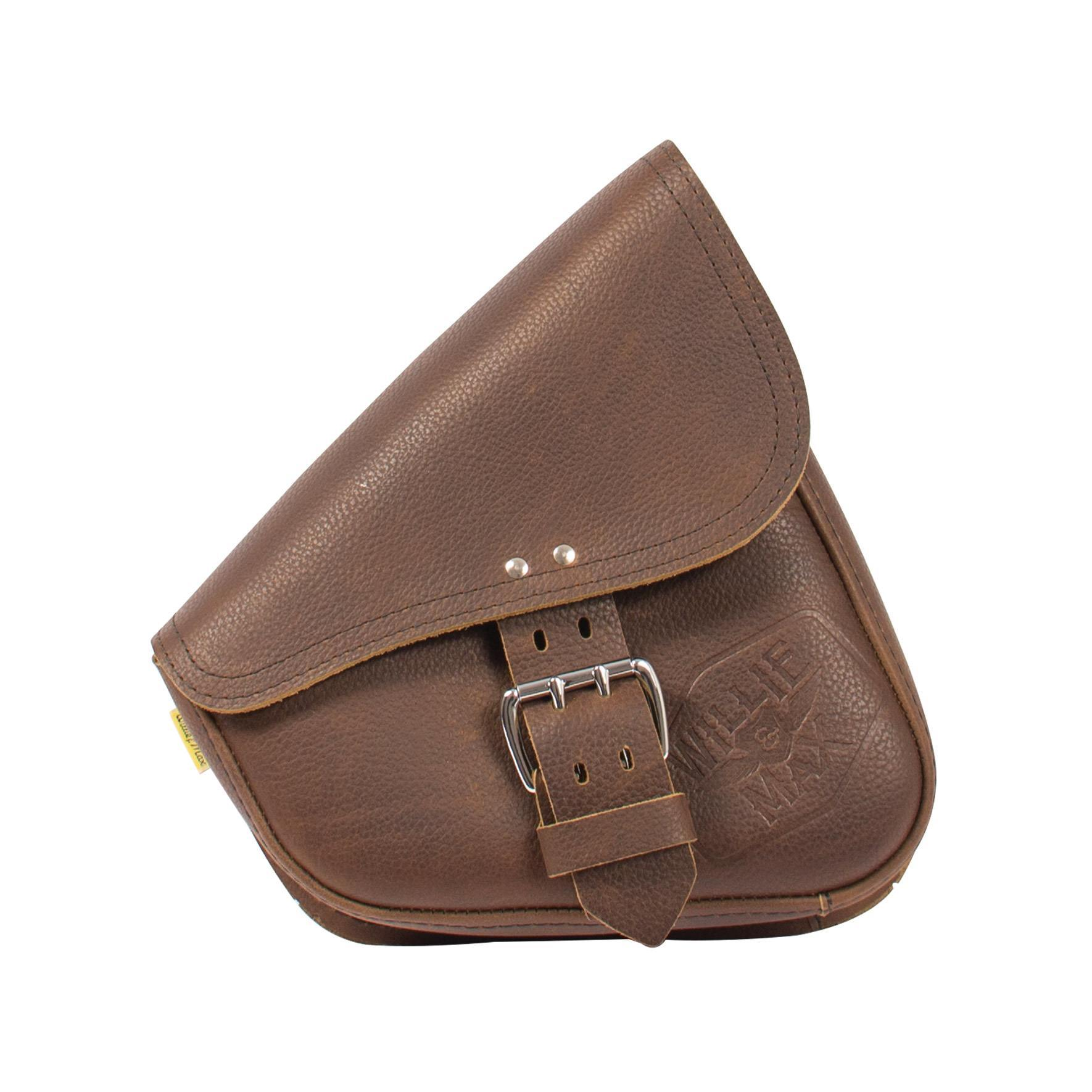 Willie & Max Limited Edition Brown Leather Swingarm Bag - Dual Shock Front View