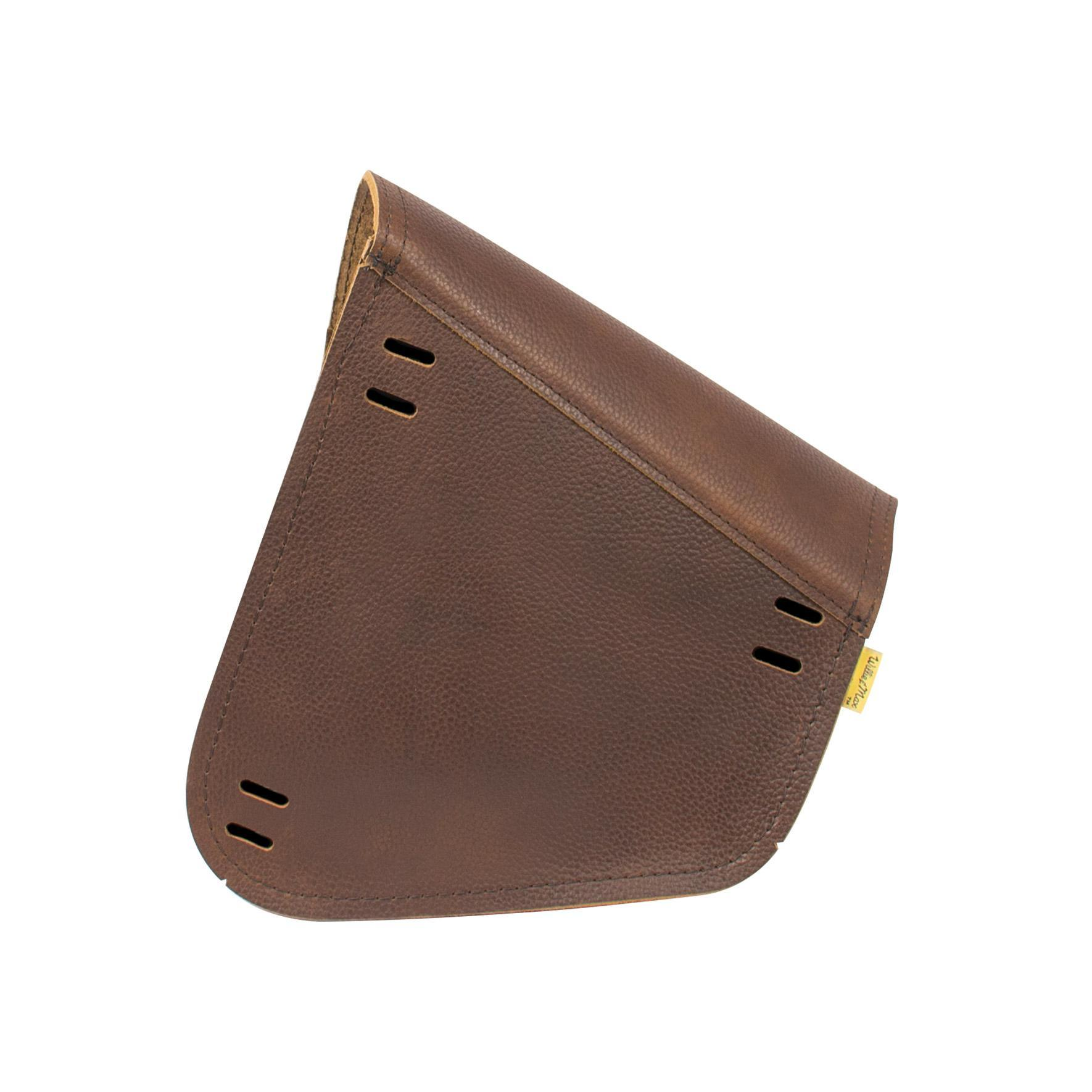 Willie & Max Limited Edition Brown Leather Swingarm Bag - Dual Shock Back View
